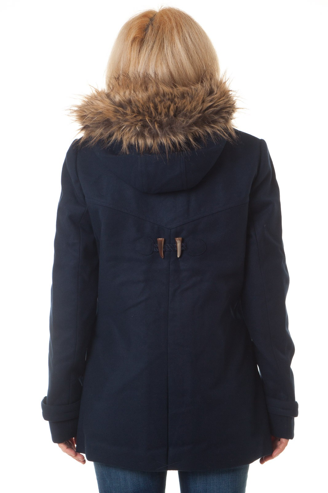 tom tailor damen jacke dufflecoat mit kapuze und abnehmbarem fellkragen navy ebay. Black Bedroom Furniture Sets. Home Design Ideas
