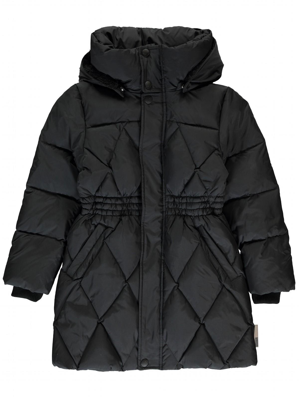 name it m dchen daunen mantel mit kapuze mocca schwarz. Black Bedroom Furniture Sets. Home Design Ideas