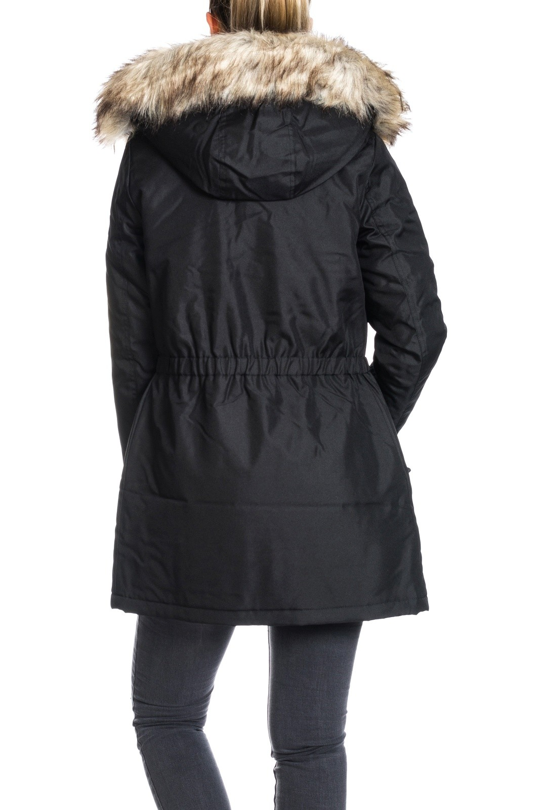 only damen mantel onliris parka schwarz jacke fellkapuze damen jacken