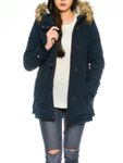 Only Damen Mantel Fellkapuze onlValencia Jacke navy 001