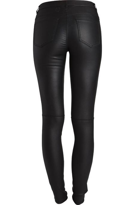 33176f1248 Pieces Biker Hose Jeggins Skinny Jeans Röhre schwarz High Waist beschichtet  hoch