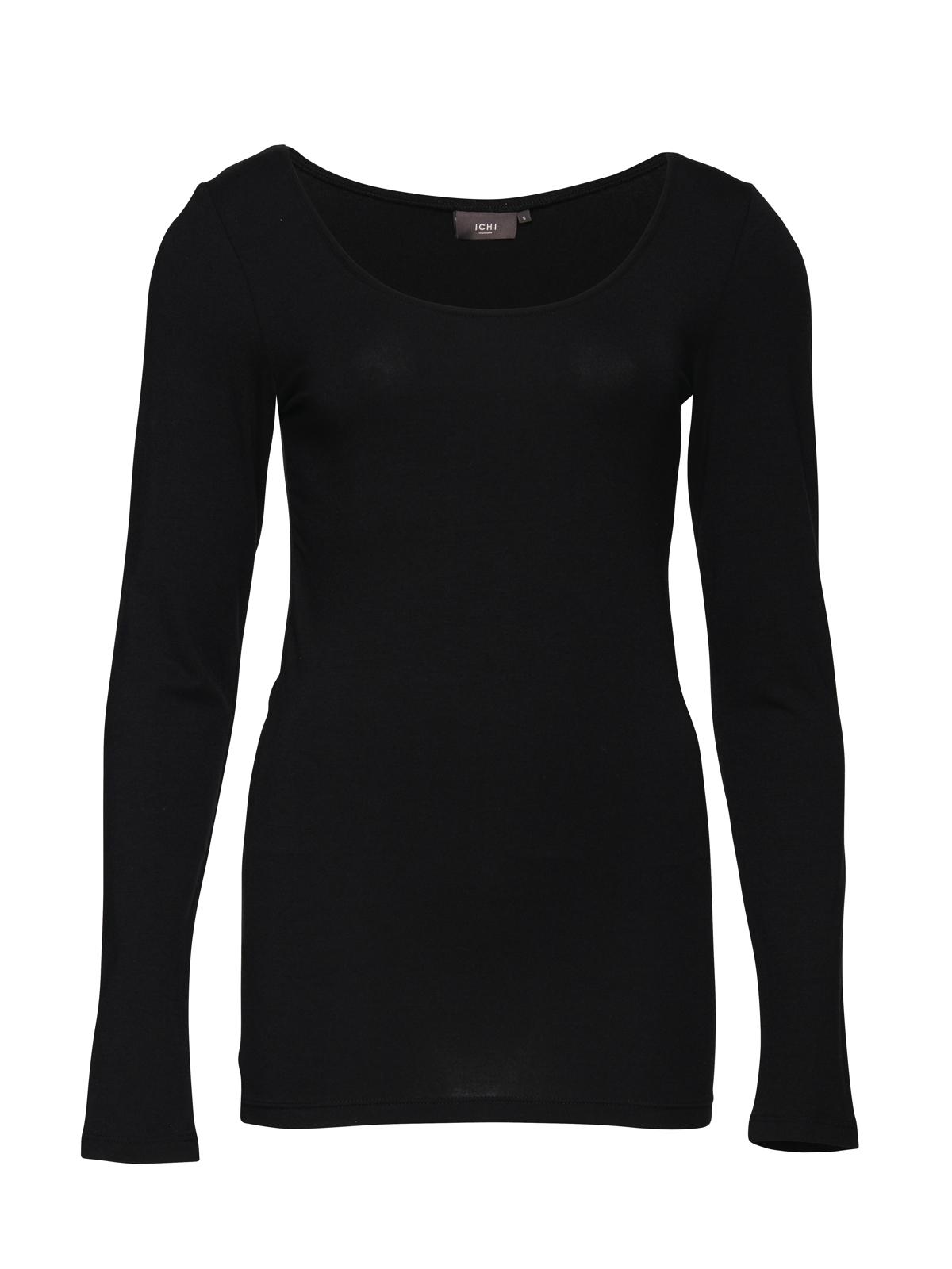 ichi damen langarmshirt t shirt basic uni wei schwarz xs. Black Bedroom Furniture Sets. Home Design Ideas