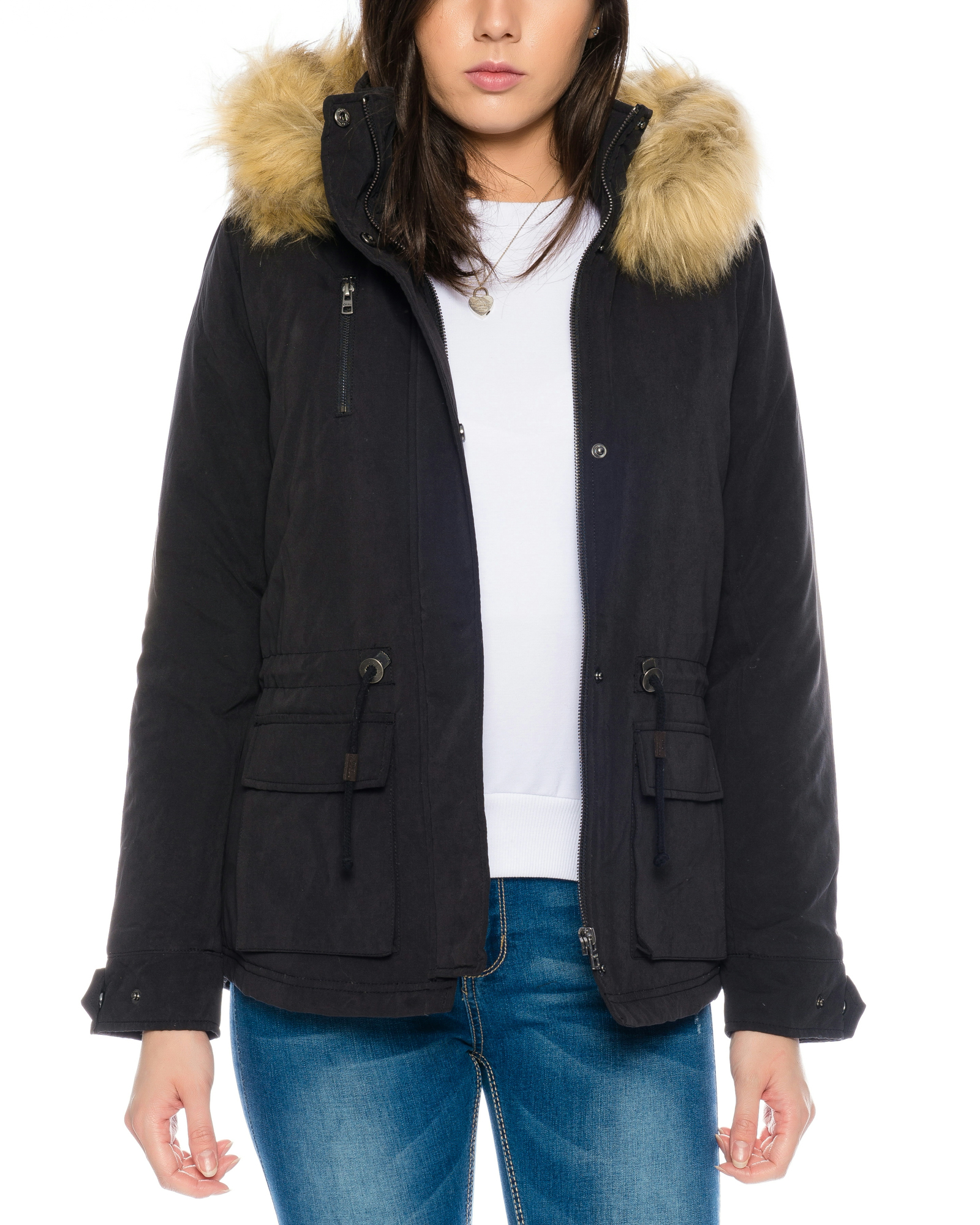 only damen jacke parka mit fell kapuze onlstarlight jacket. Black Bedroom Furniture Sets. Home Design Ideas