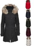 Only Damen Winter Mantel onlIris Parka Jacke Fellkapuze 001