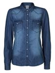 Vero Moda Damen Bluse Vera LS Denim Shirt blue 10122833 001