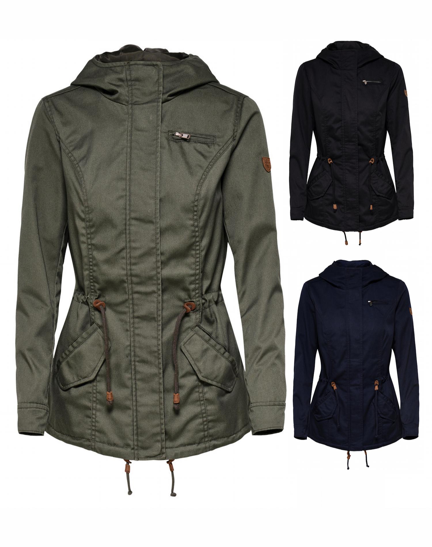Online-Verkauf sale bestbewertet Details zu Only Damen Übergangs Jacke Parka XS S M L XL mit Kapuze schwarz  blau grün NEU