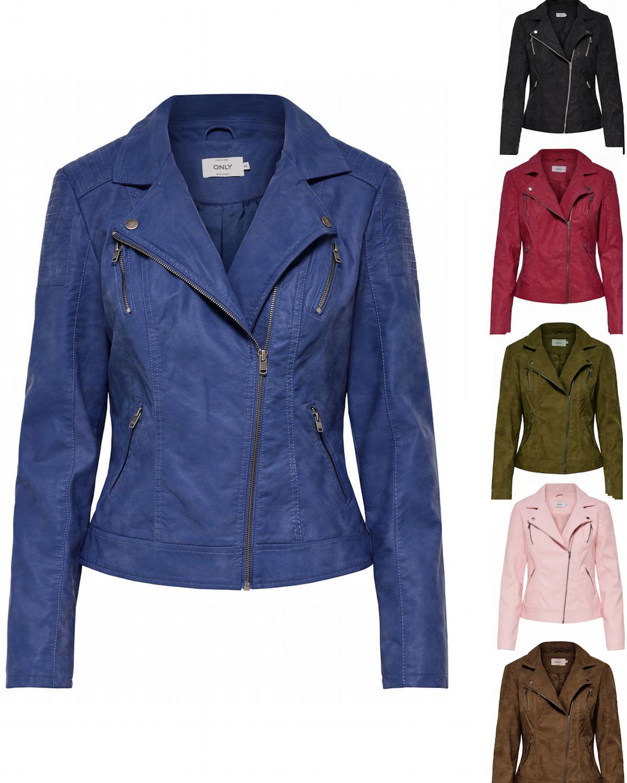Gedanken an beliebte Marke Junge Details zu Only Damen Leder-Optik Jacke 34 36 38 40 42 rot blau schwarz  grün Biker NEU