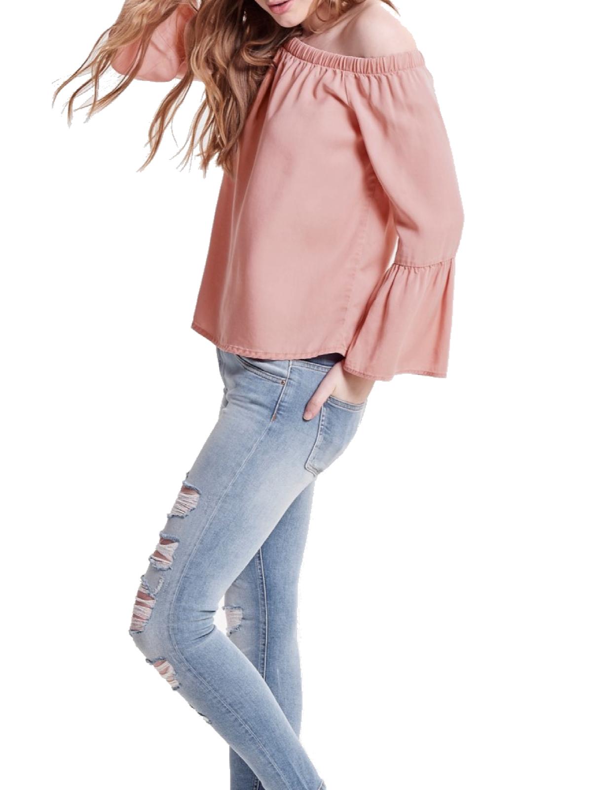 ONLY Damen Bluse Shirt Oberteil T-Shirt Off Shoulder Top trägerlos schulter-frei