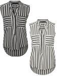 VERO MODA Damen Top-Bluse Vmerika S/L Stripe Shirt 10193156 [1]