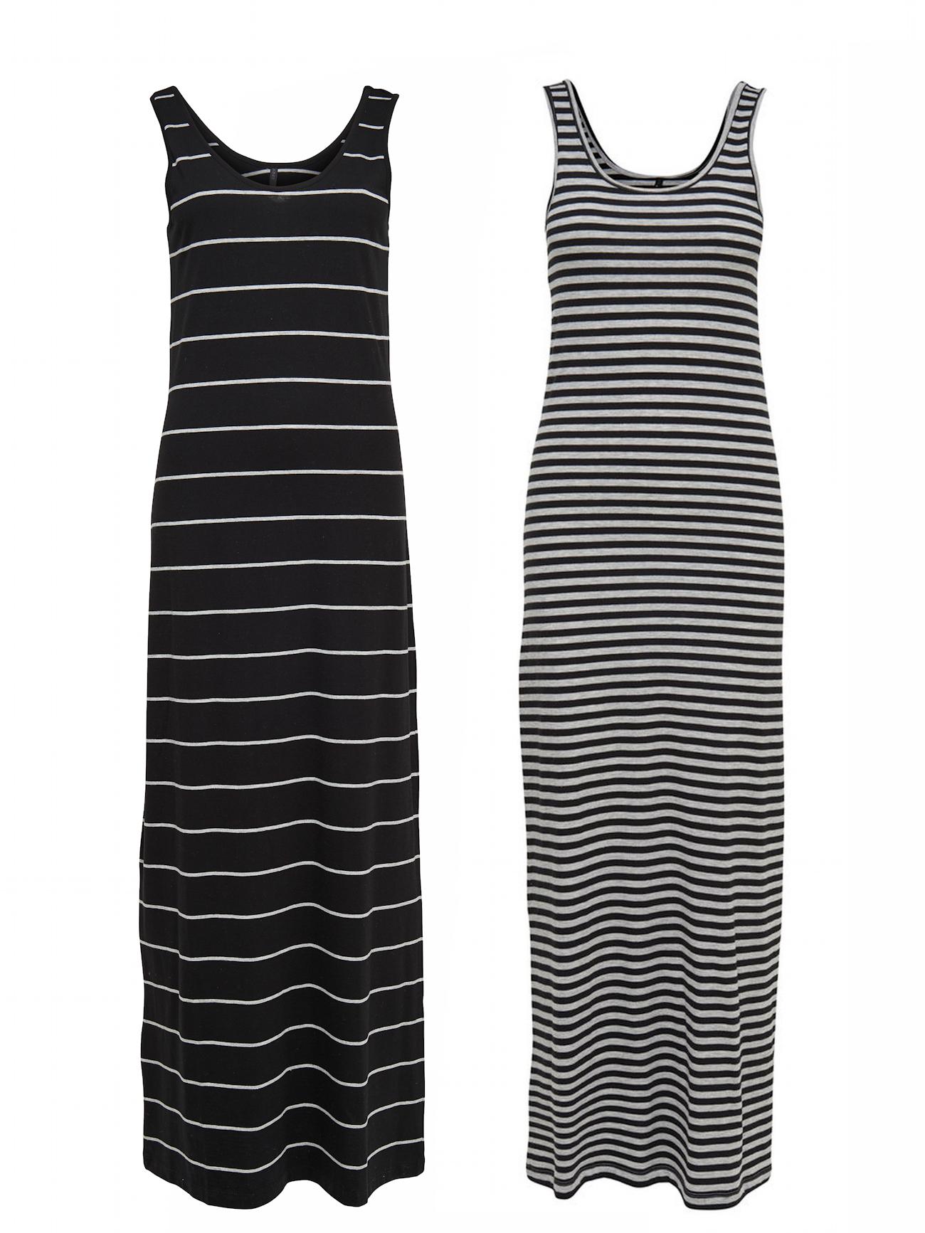 6da8f8cd19c40 Only Damen ärmelloses Kleid Maxikleid lang baumwolle schwarz grau gestreift  NEU