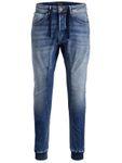 Jack & Jones Herren Jeans-Hose JJISimon JJClay Cuff Antifit Jogg-Jeans mit Kordel-zug 001