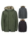 Jack & Jones Herren Mantel Fell Kapuze Winter-Jacke Jorarctic Kapuzen Parka [1]