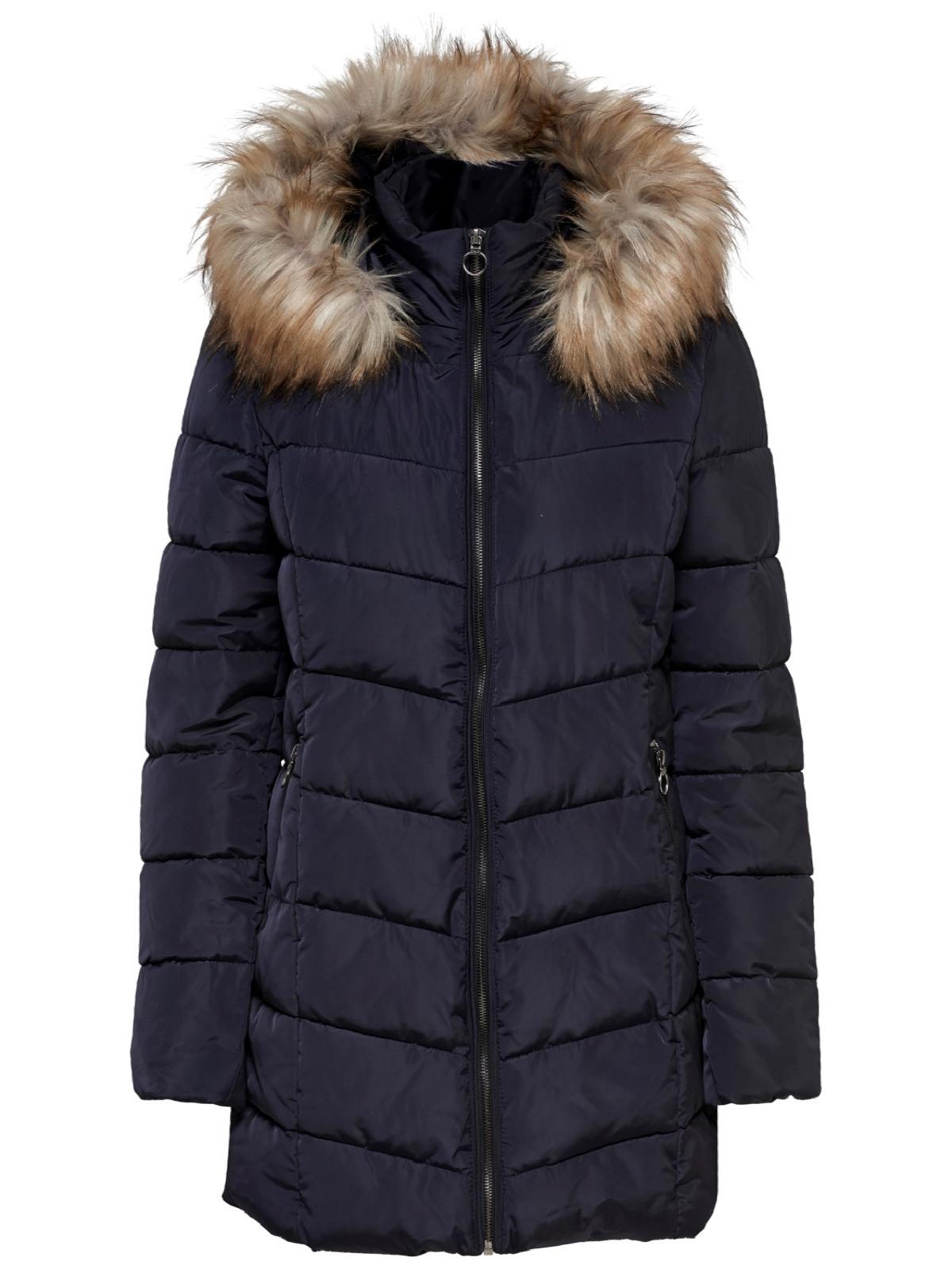 the latest aac2a 35cef Only Damen Winter Jacke Stepp Mantel Parka Fellkapuze blau ...