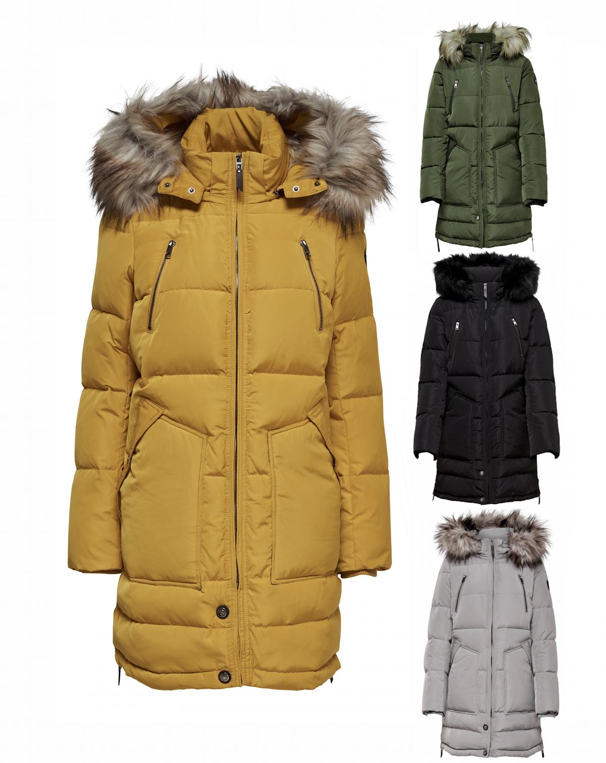 sale retailer 60879 794c0 Only Damen Wintermantel Jacke Daunen Parka Rhoda mit Fellkapuze