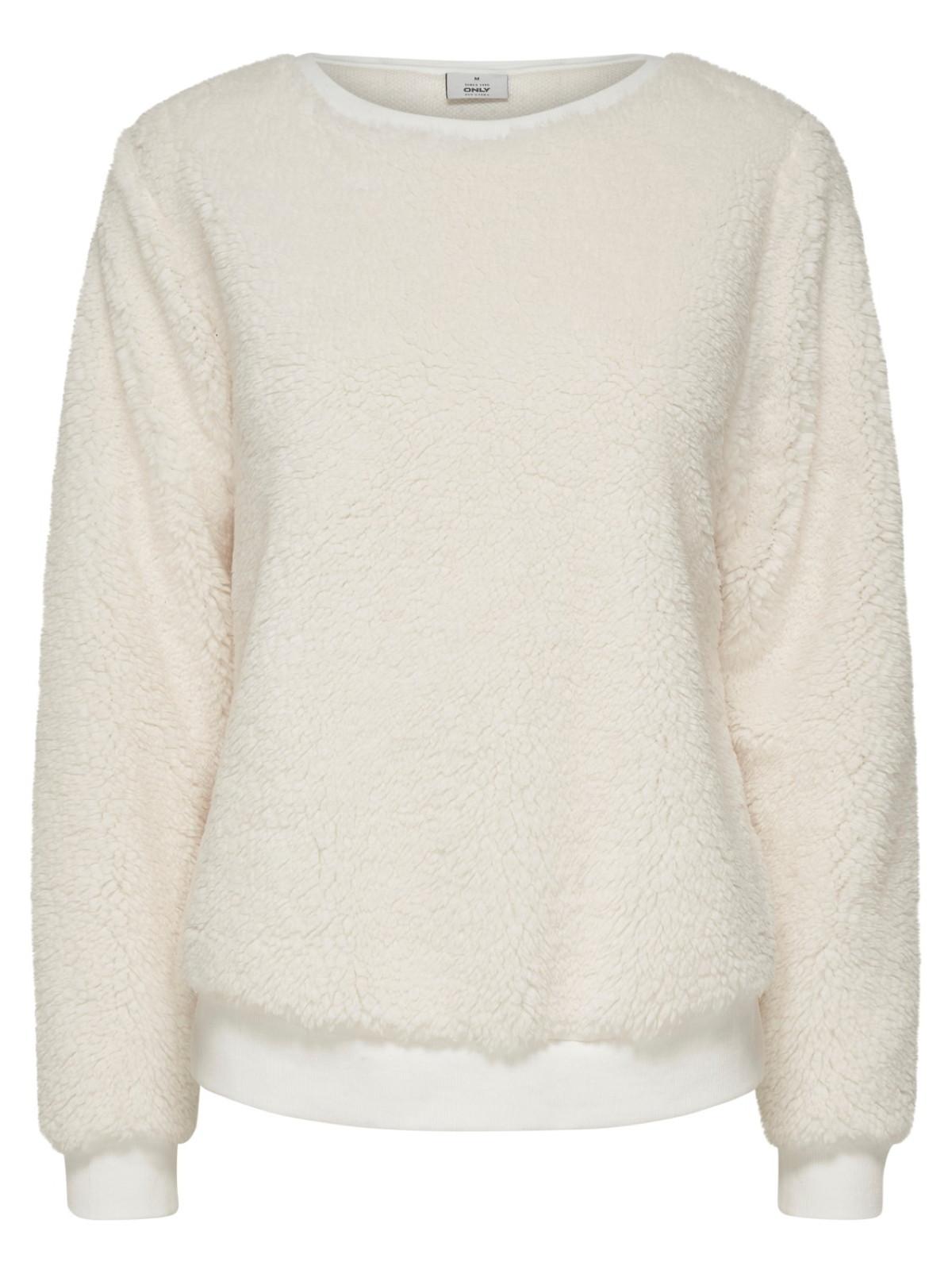 e86d38f3dafb53 Only Damen Sweater ELLIE Langarm Teddyfell Pullover Damen Pullover
