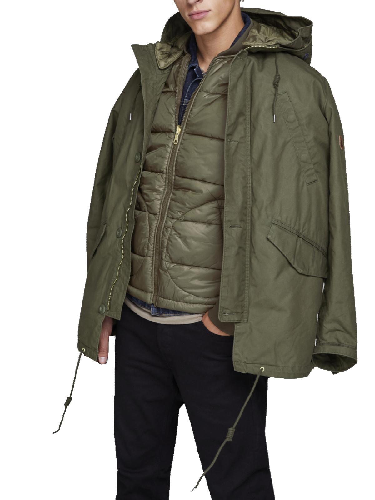 jack jones herren parka jacke mantel zwei in eins kapuze. Black Bedroom Furniture Sets. Home Design Ideas