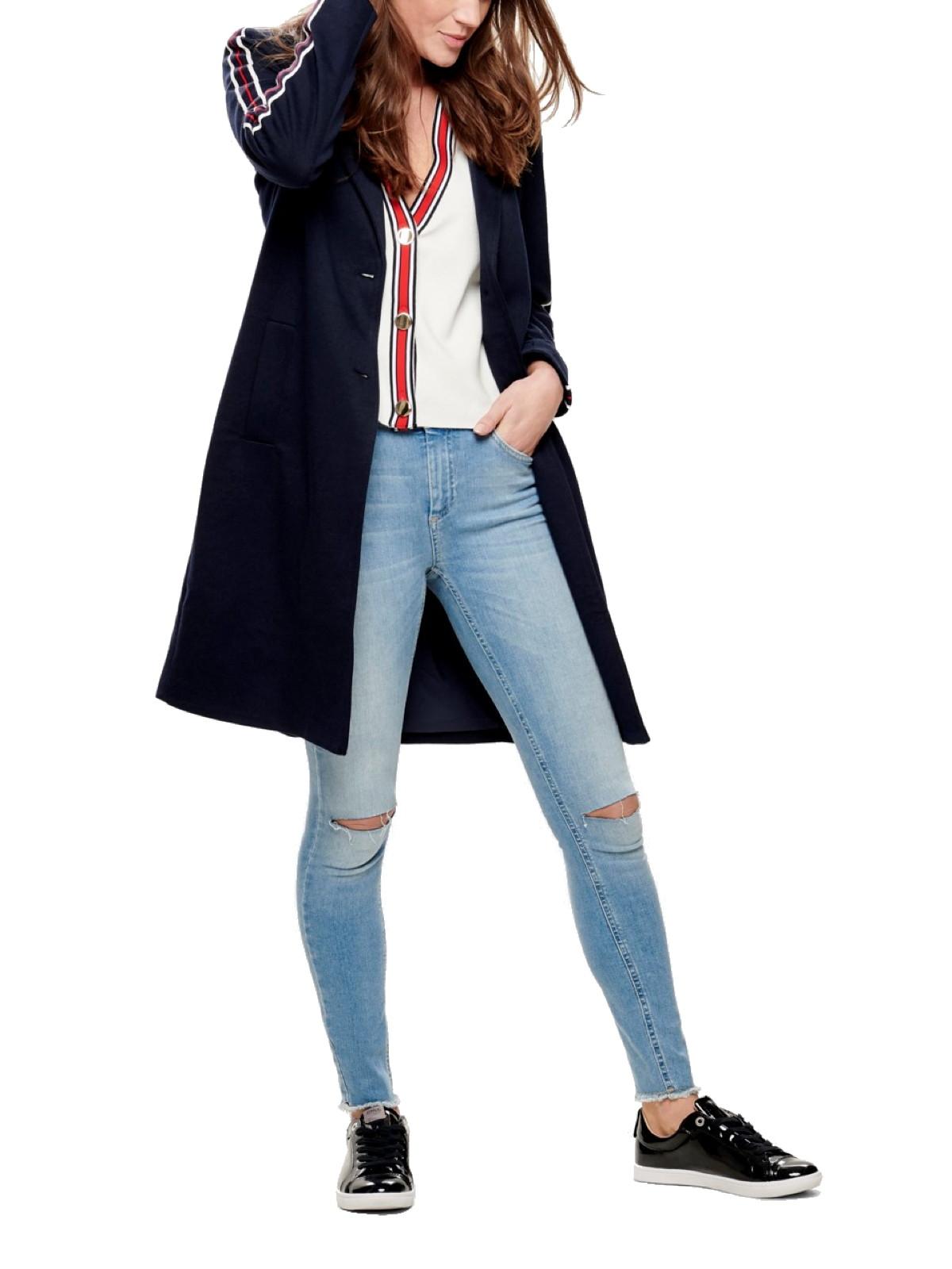 the latest 32e75 8672c Details zu ONLY Damen Mantel sportliche Freizeit-Jacke onlLISELLE Ruby mit  Streifen blau