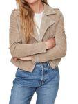 Vero Moda Damen Jacke Wildleder vmRoyce Short Leder-Jacke beige rot [3]