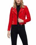 Vero Moda Damen Jacke Wildleder vmRoyce Short Leder-Jacke beige rot 001