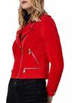 Vero Moda Damen Jacke Wildleder vmRoyce Short Leder-Jacke beige rot [2]