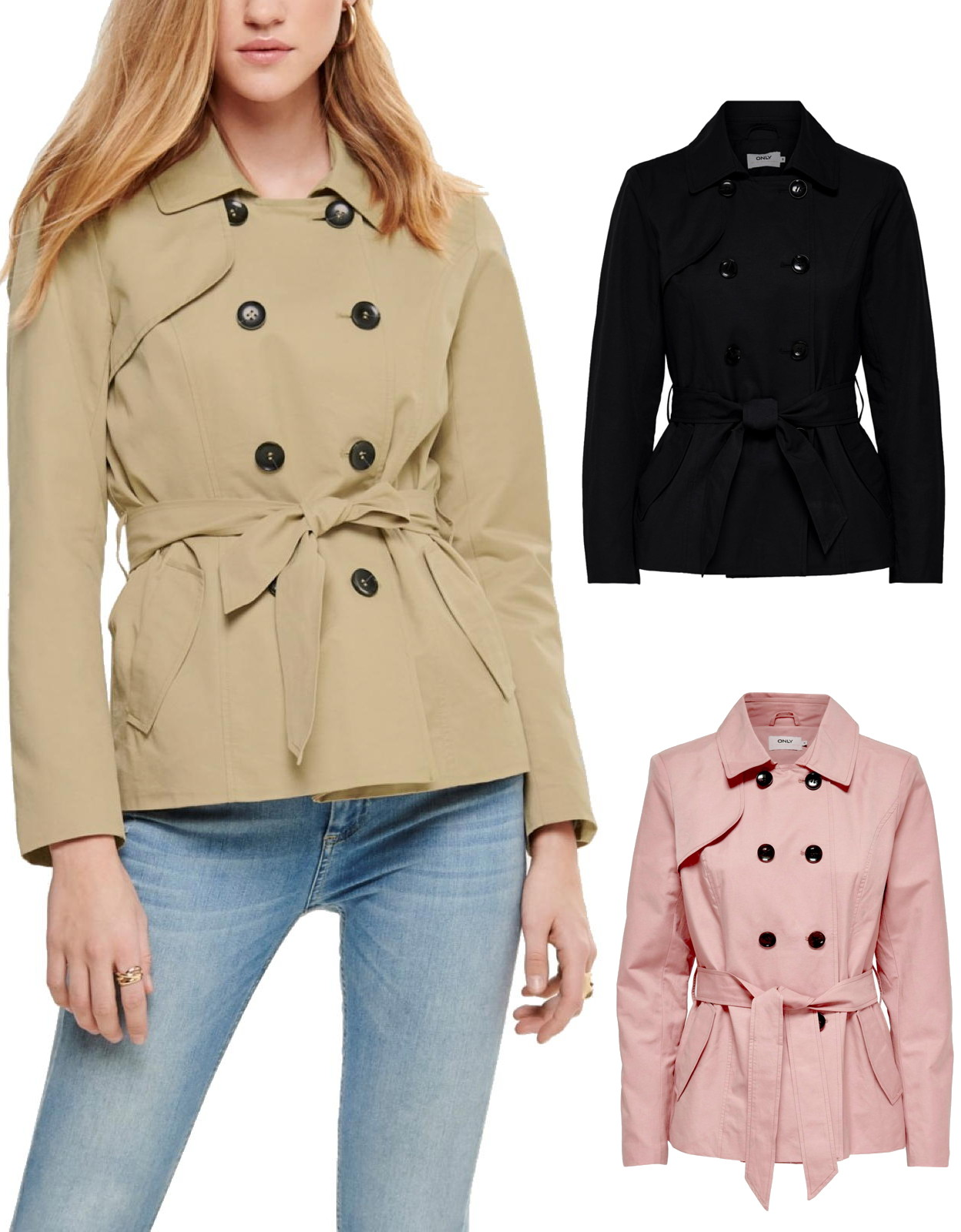 the latest f1a64 39218 Only Damen Kurz-Mantel Jacke onlLAURA Short Trenchcoat 15167883