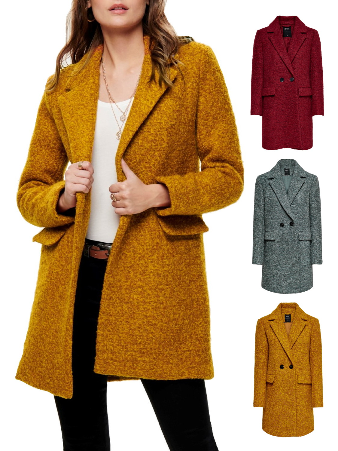 Only Damen Jacke Mantel onlSophia Boucle Wool Kurzmantel Woll 34 36 38 40 42