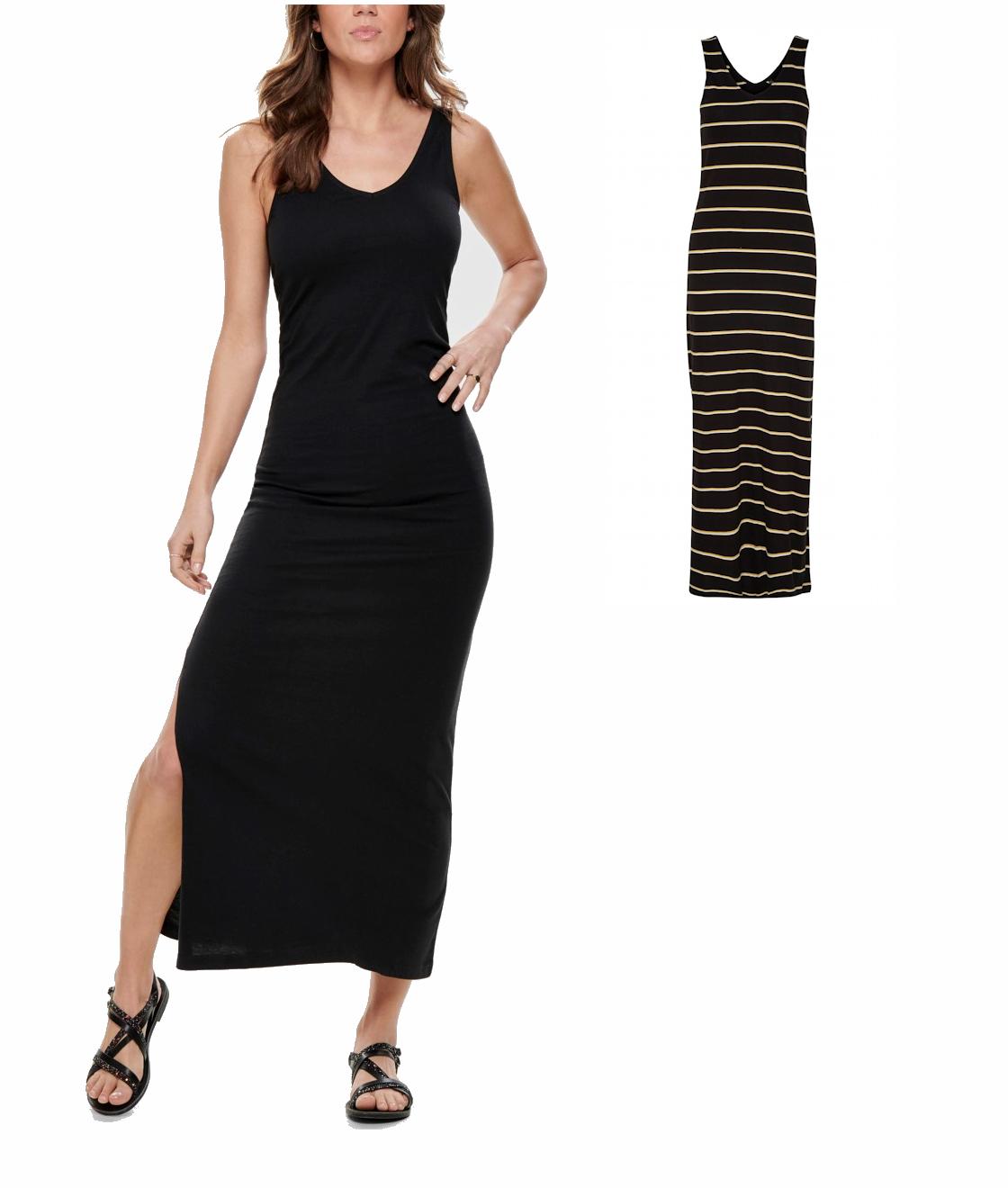 details zu only damen langes kleid v-ausschnitt trägergkleid figurbetont  streifen schlitz