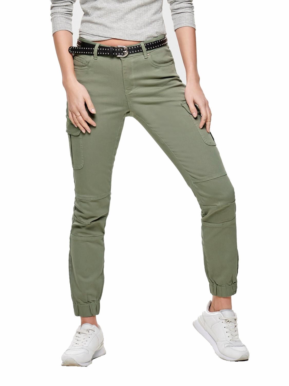 Verkauf Einzelhändler gute Textur UK Verfügbarkeit Only Damen Cargo Hose onlMissouri Military Ankel Pant grün