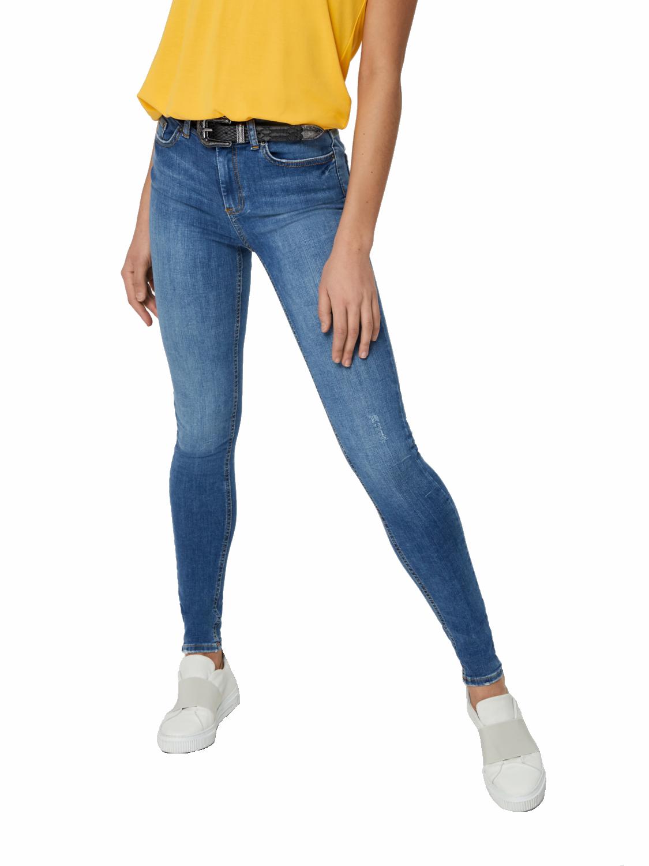 Pieces Damen Skinny Jeans Hose pcDelly Jeggings blau