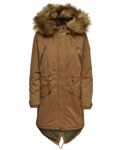 Only Damen Winter Mantel onlElin Long Run Fur Canvas Parka mit Fellkapuze [2]