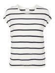 Vero Moda Damen kurzarm Shirt VmAva Plain Ss Top Nemo Stripe Ga O-Neck weiß [2]