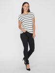 Vero Moda Damen kurzarm Shirt VmAva Plain Ss Top Nemo Stripe Ga O-Neck weiß [3]