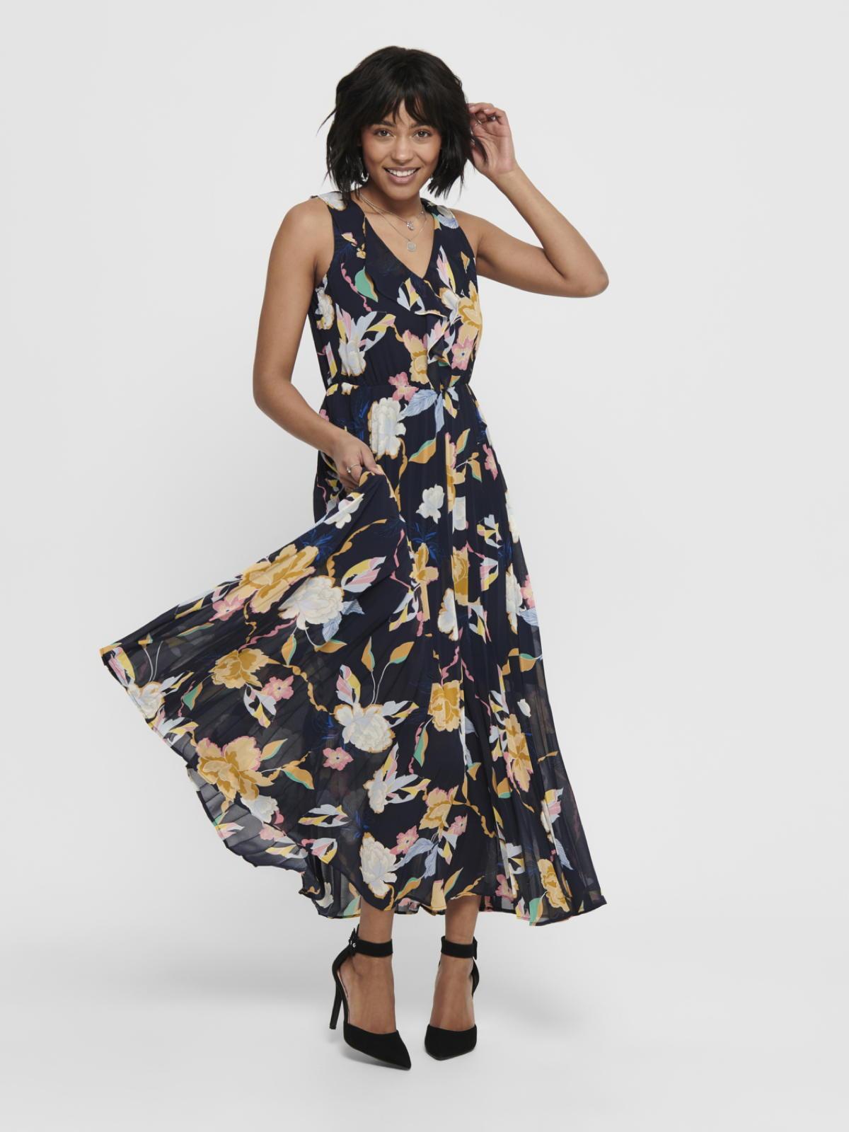 only damen kleid onlangila dress maxi sommerkleid 15202709 blau - rosa  geblümt