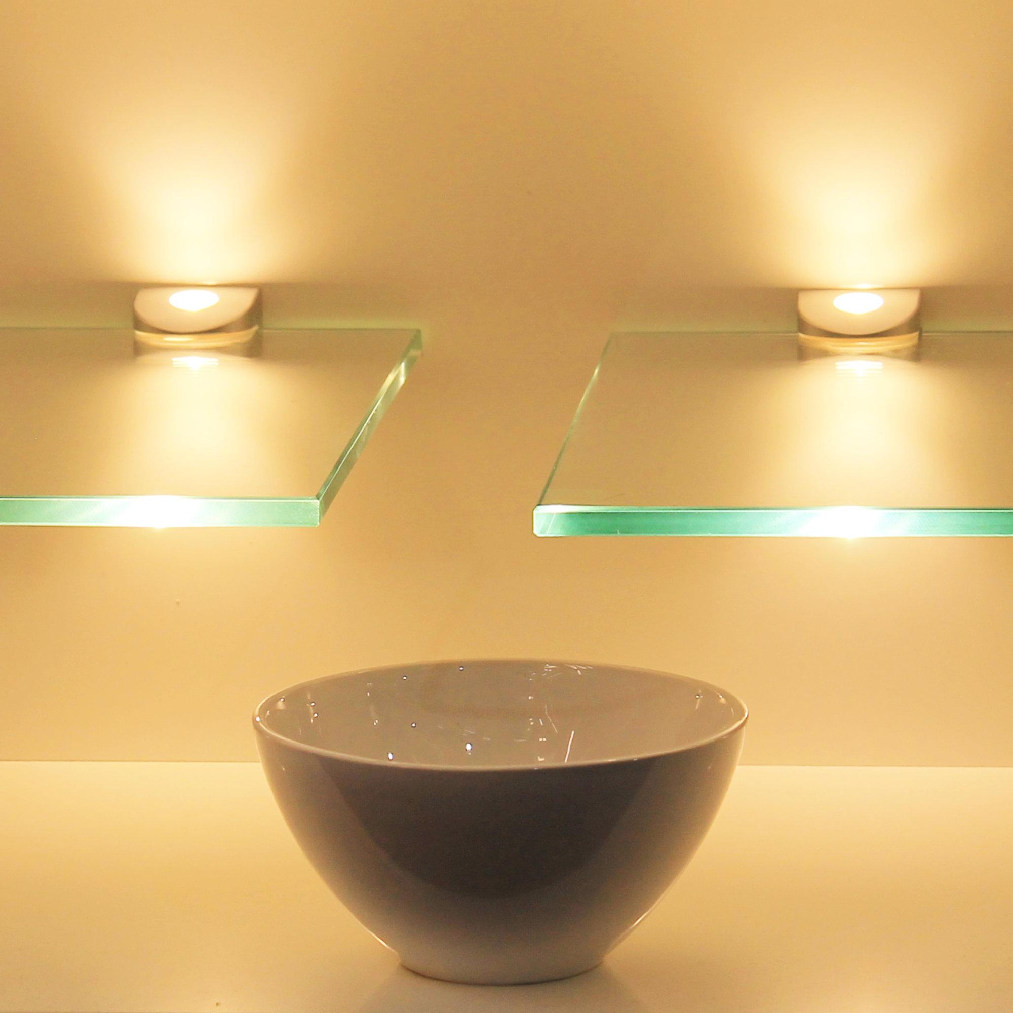 Detalles de LED Estante de Vidrio Panel Pared Colgante Estantería Iluminado