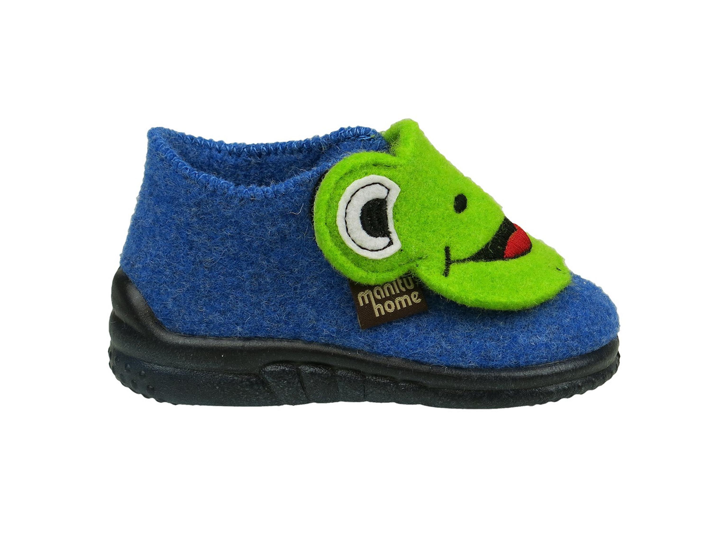 Manitu Kinder Hausschuh Frosch blau//grün Klettverschluss 260107 5