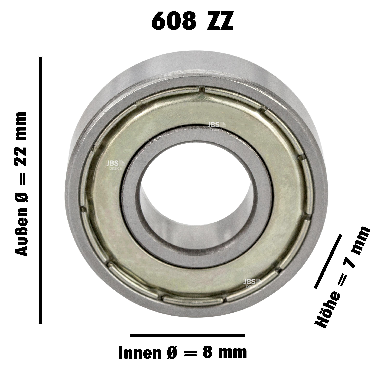 8 x 22 x 7 mm Edelstahl rostfrei 10 Kugellager SS 608 ZZ