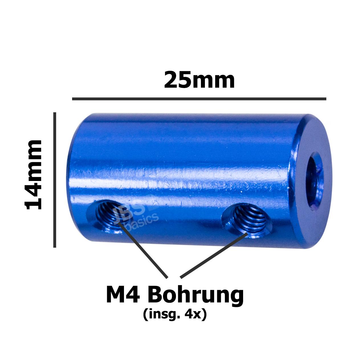 ► 1 Stk 4mm x 5mm Wellenkupplung Verbinder starr 4x5 CNC 3D NEMA BLAU Alu Motor