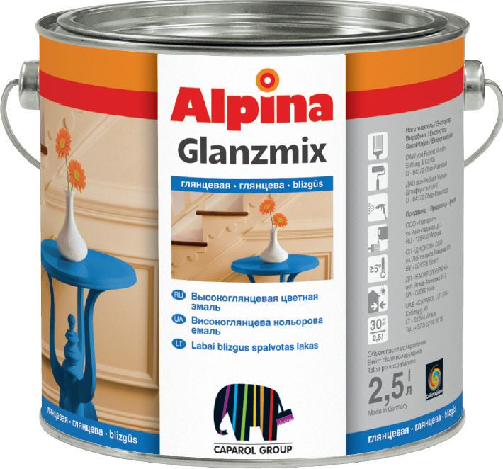 Alpina Glanzmix Buntlack RAL 5009 Azurblau glänzend 2,5 Lt innen & außen