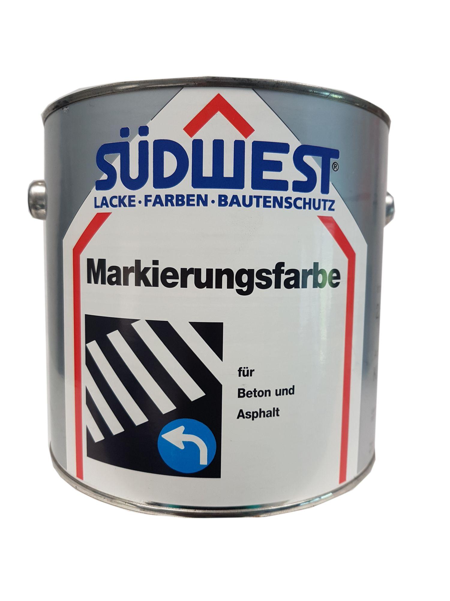 SÜDWEST Markierungsfarbe K 26 für Beton und Asphalt  Matt  Farbton wählbar 2,5 Liter