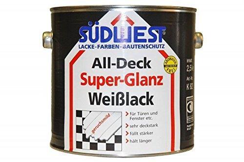 2x 2,5 L Südwest Weißlack All-Deck Super Glanz für Türen und Fenster etc 9352 AltWeis 5 Liter