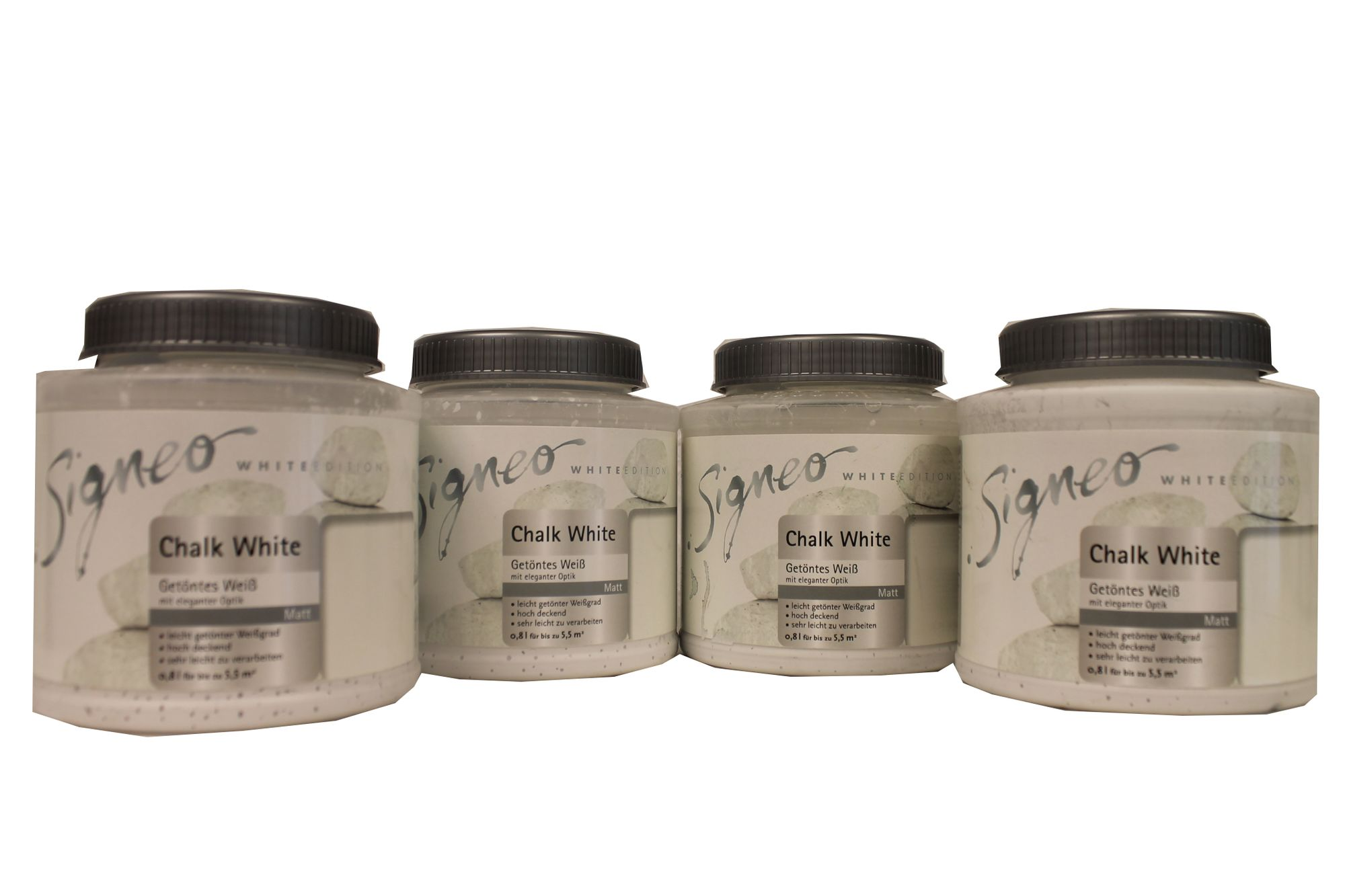 4x0,8 Liter Signeo White Edition Chalk White Matt 3,2 Liter