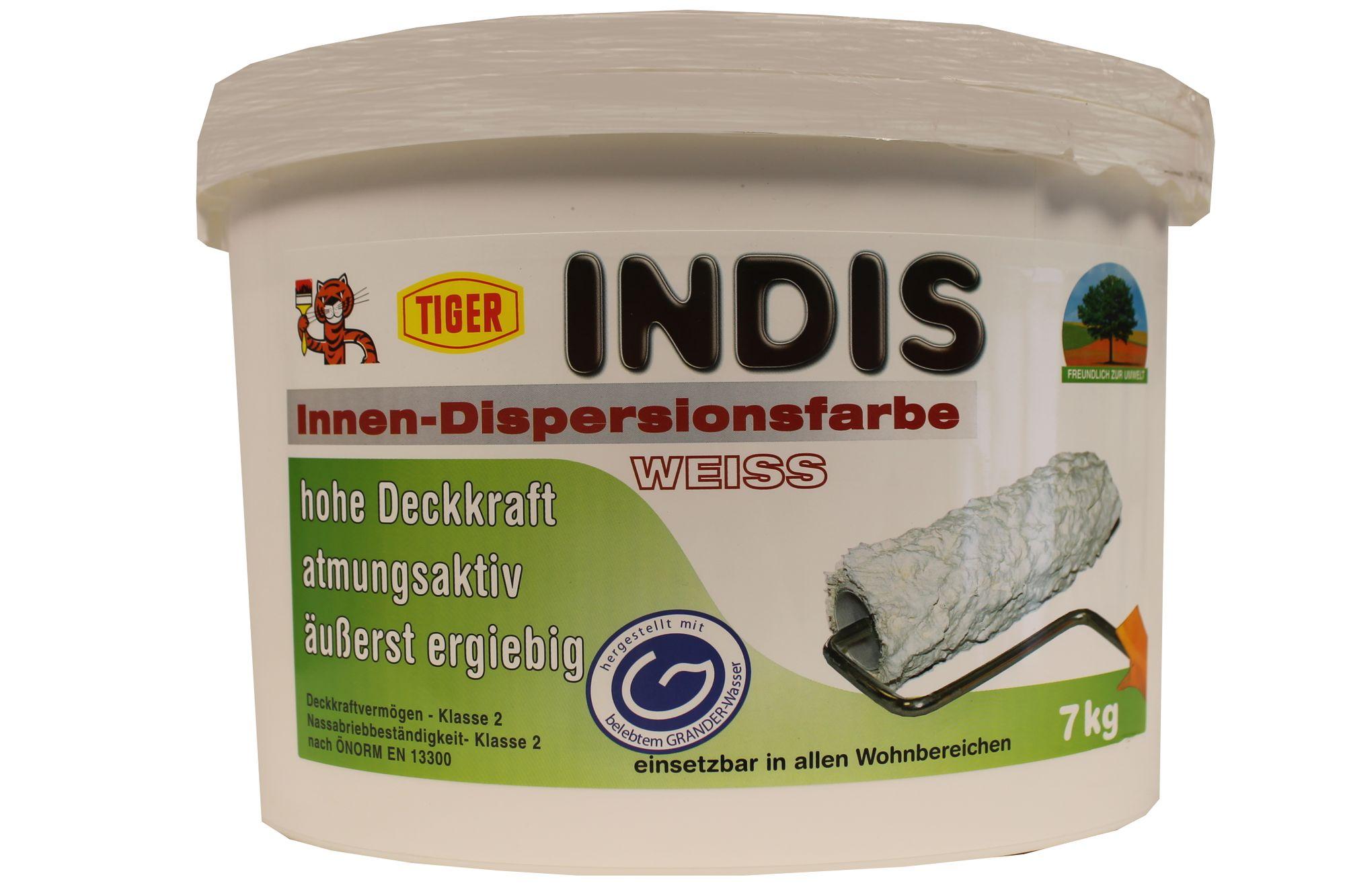 Tiger Indis Innen-Dispersionsfarbe Wandfarbe Weiss tuchmatt 14 Kg
