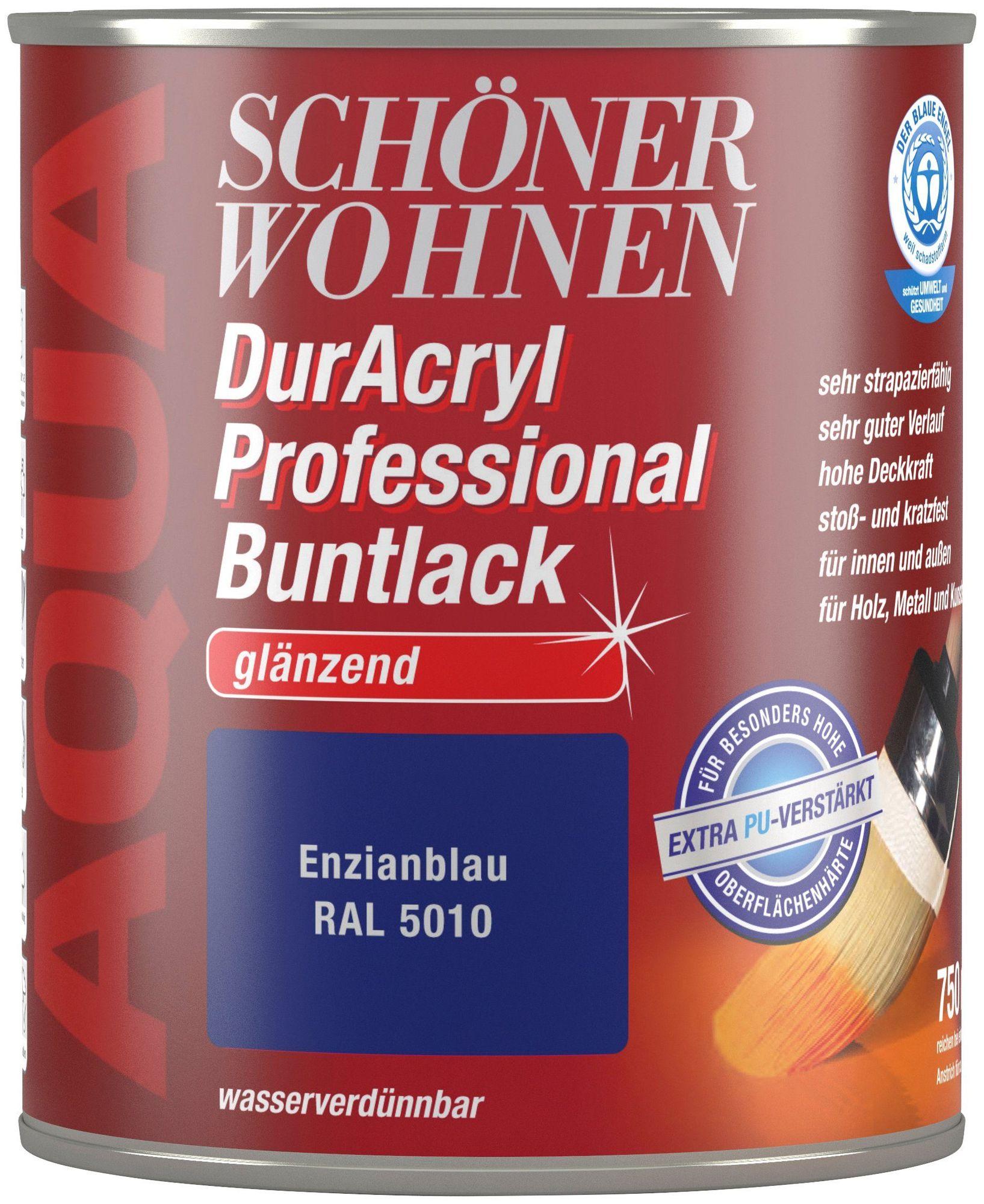 Schöner Wohnen Buntlack DurAcryl Professional Glänzend, RAL 5010 Enzianblau 750 ml