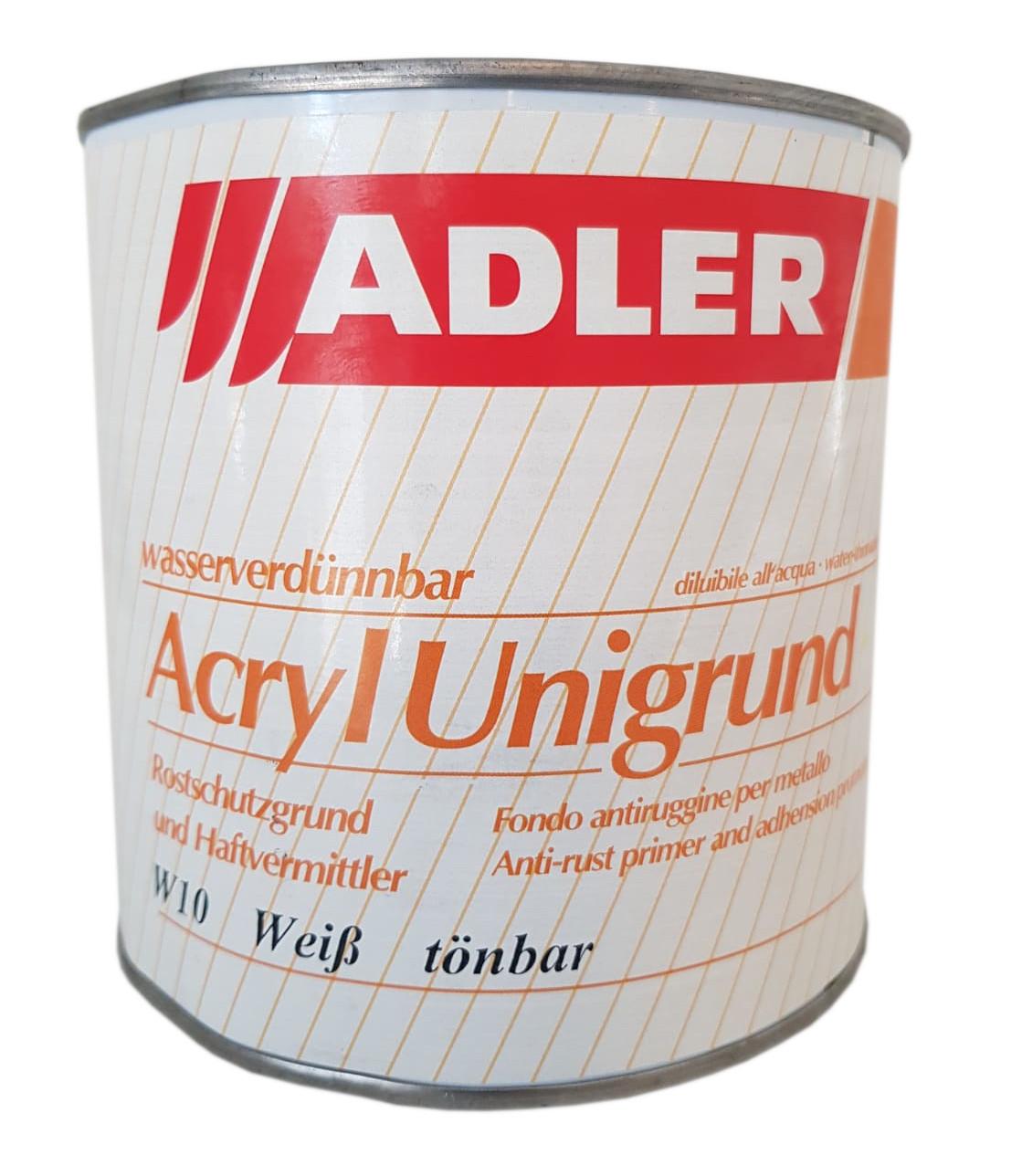 Adler Acryl Unigrund Rostschutzgrund W10 Weiß tönbar Innen & Außen 0,75 Liter