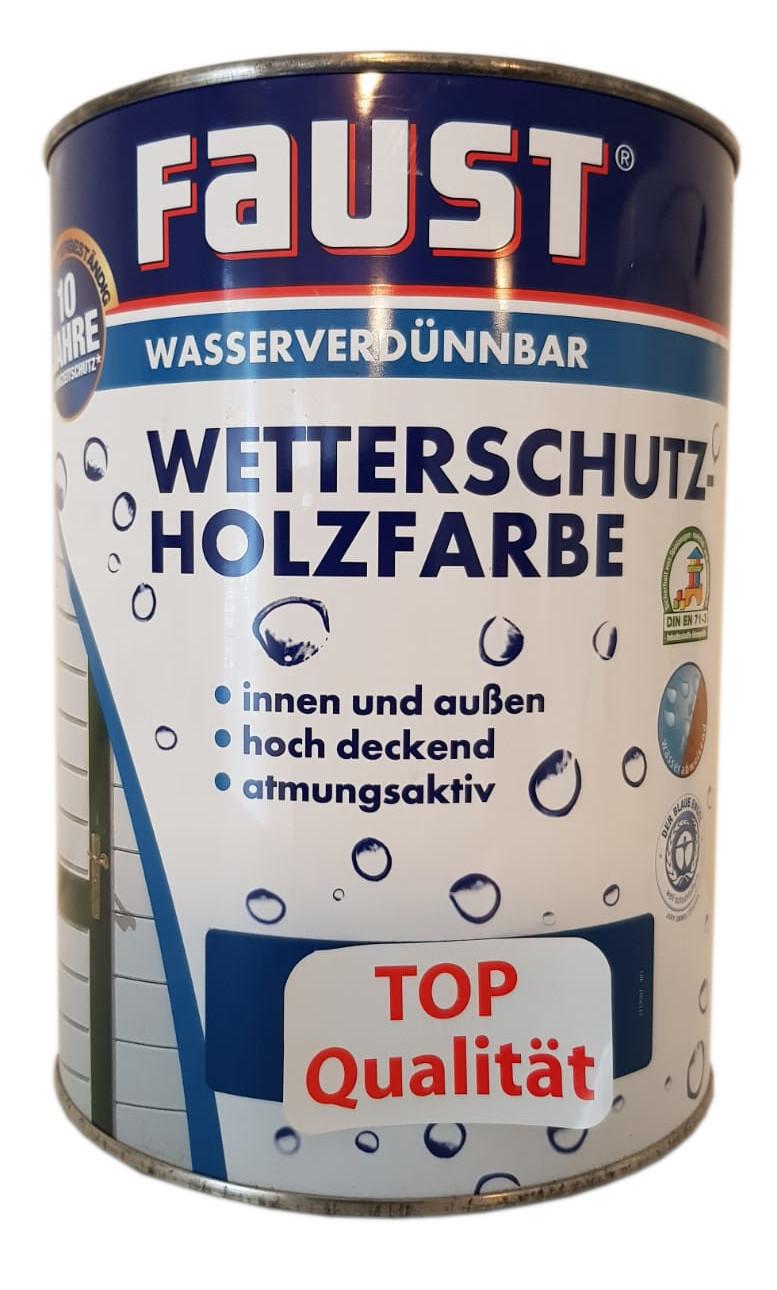 Faust Wetterschutz Wasserverdünnbar Holzfarbe innen&außen Seidenmatt 0,75 Liter Farbwahl
