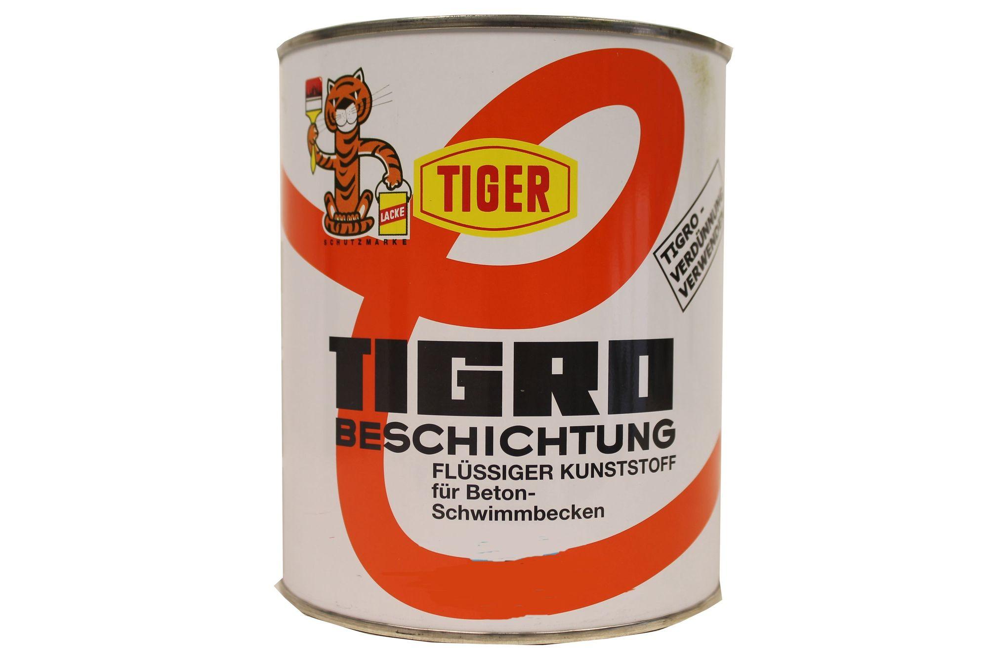 Tiger Tigro Beschichtung flüssiger Kunststoff für Beton- Schwimmbecken Seidenmatt  1 Liter Farbwahl