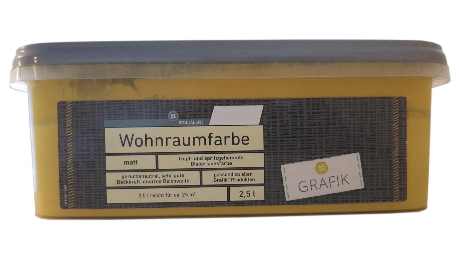 Farbige Hochleistungs-Bunte Wandfarbe mit extrem hoher Ergiebigkeit  Wohnraumfarbe Matt 2,5 Liter