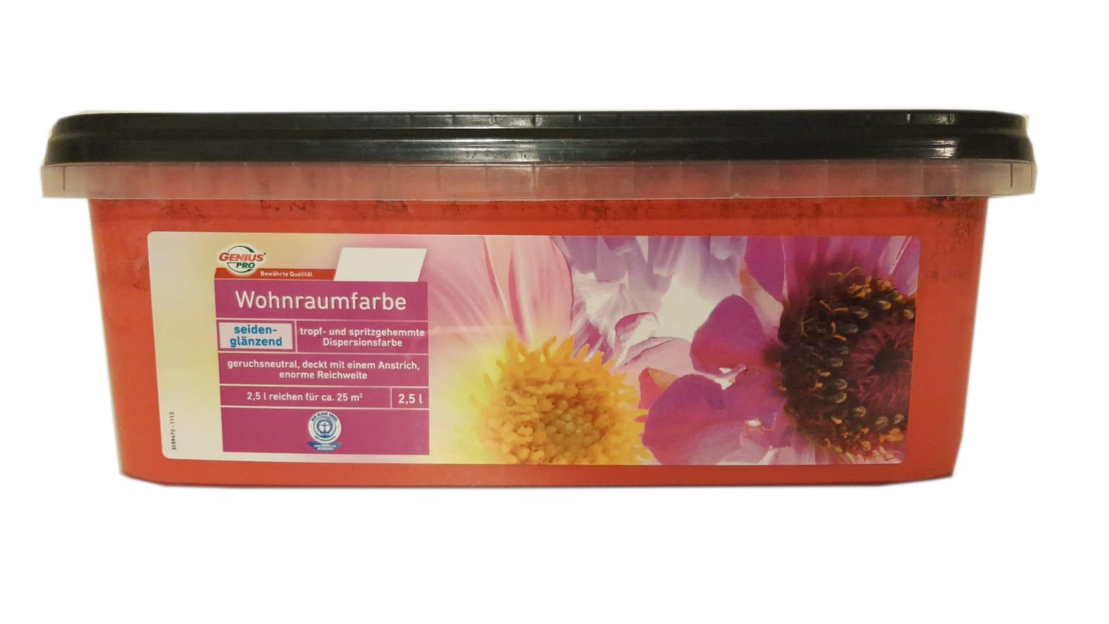 Farbige Hochleistungs-Bunte Wandfarbe  mit extrem hoher Ergiebigkeit  Wohnraumfarbe Seidenglänzend 2,5 Liter