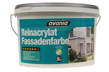 4 x 2,5 Liter Avania Reinacrylat Fassadenfarbe Weiß Matt 10 Liter