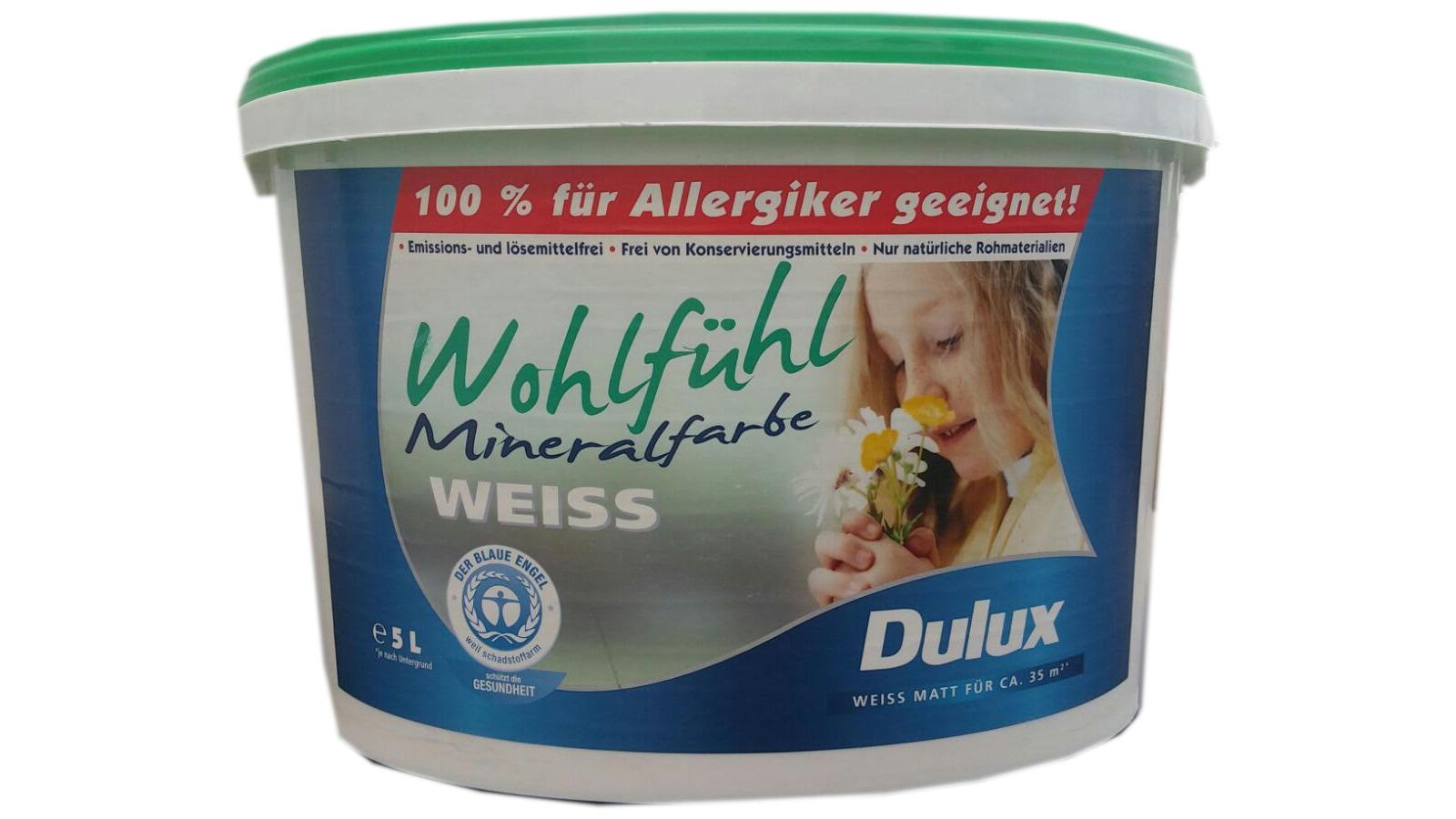 dulux wandfarbe wohlf hl mineralfarbe 100 allergiker geeignet wei matt 5 liter. Black Bedroom Furniture Sets. Home Design Ideas